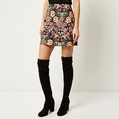 River island retro floral skirt