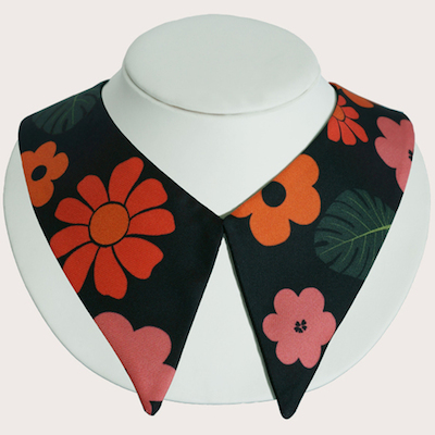Flowers+Black+Silk+Collar
