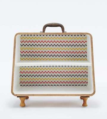Patterned suitcase shelf