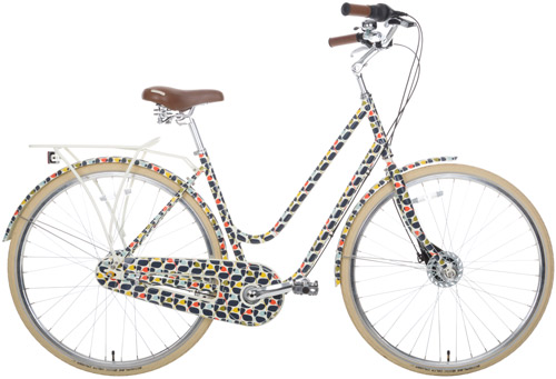 Orla Kiely Olive and Orange bicycle and outdoor range for Halfords