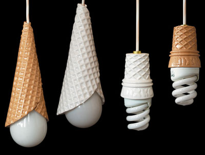 Childrens Novelty Light Fittings : Switched On Set: Whippy light fittings - shaped like ice cream cones