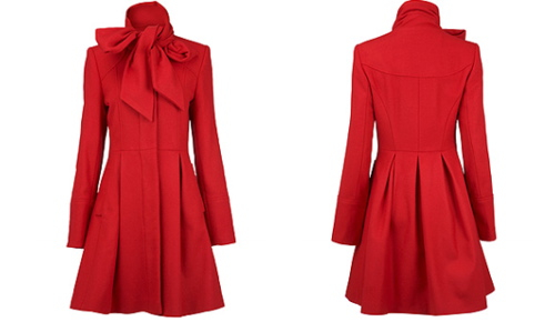 Red bow neck coat - Coats & jackets - Just Arrived - Dorothy Perkins